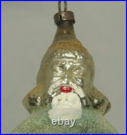 German Antique Glass Santa On A Ball Vintage Christmas Ornament Decoration 1900s