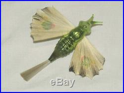 German Antique Spun Glass Wings Butterfly Moth Vintage Christmas Ornament 1900's