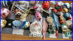 HUGE Antique VTG Lot MERCURY Glass INDENT Shiny Brite ORNAMENT XMAS Scene Poland