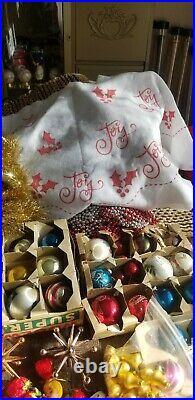 HUGE LOT Of Vintage Christmas Ornaments Glass Indent Shiny Brite Poland