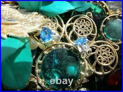 HUGE Vintage Now Jewelry Lot Rhinestone Signed Wear Compacts Repair Xmas Lbs
