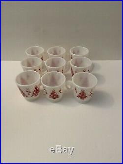 Hazel Atlas Vtg. Christmas Tree Punch/Eggnog Bowl 10 pc. Set Green/Red 9 Mugs
