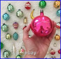 Huge Lot Of 56 Colorful Vintage Mercury Glass Christmas Tree Ornaments