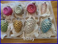 LARGE VINTAGE RARE Christmas Tree Ornaments Bumpy Indents & Snowcapped Acorns