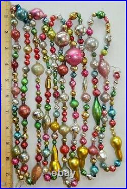 LONG 10 1/2 FT 100% Vintage Mercury Glass Christmas Garland Big Beads Antique