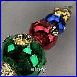 Large 19 Czech Mercury Glass Indent Vintage Tree Topper Four Ball Snowcap
