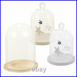 Large Glass Display Bell Jar Dome Cloche Wooden Base Decorative Vintage Stand