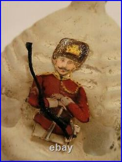 Late 1800's Early 1900's German Blown Glass Figural Ornament with Diecut Soldier