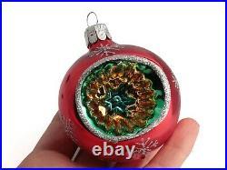 Lot (12) Czech blown glass vintage reflector Christmas tree decorations 2.5