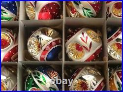 Lot (12) Czech blown glass vintage retro reflector Christmas tree ornaments