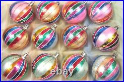 Lot 12 VTG Mercury Glass Stripe Glitter BALL Christmas Ornaments Fantasia Poland