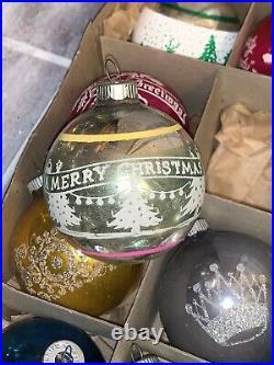 Lot 12 Vintage Christmas Ornaments Shiny Brite Mica Stencil