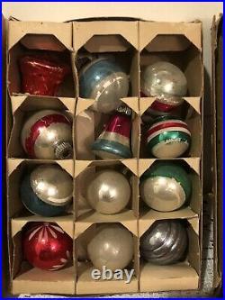 Lot 50 Vintage Shiny Brite Glass Ornaments Stencils Indent Flocked Mica Bells