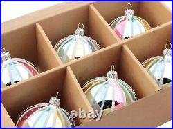 Lot (6) Czech blown glass vintage style rainbow striped Christmas tree ornaments