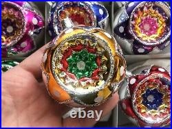 Lot (6) Czech blown glass vintage style reflector Christmas tree ornaments