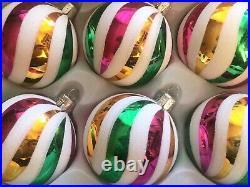 Lot (6) Czech glass vintage style striped Nordic Christmas tree ornaments 7cm