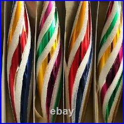 Lot (6) large Czech glass retro vintage striped oval Christmas tree ornaments
