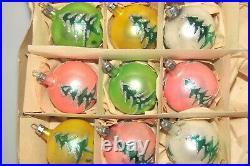 Lot 9 VTG Mercury Glass Pictured TREE BALLS Christmas Ornaments Fantasia Poland