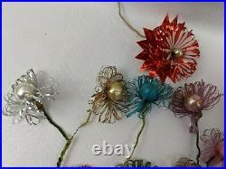 Lot Pom Fluff Vintage Mercury Glass Beaded Floral Pick Christmas Chenille Stem