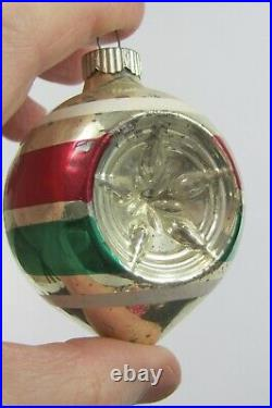Lot VTG Mercury Glass Shiny Brite Indent Teardrops Patriotic Christmas Ornaments