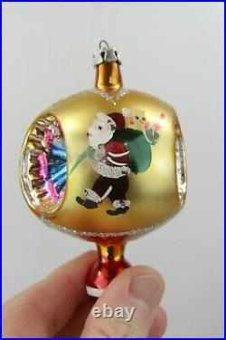 Lot VTG Mercury Glass Triple Indent Pictured Teardrop Christmas Ornaments Poland