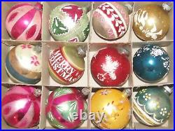 Lot Vintage Mercury Glass Pictured Mica Glitter BALL Christmas Ornaments Poland