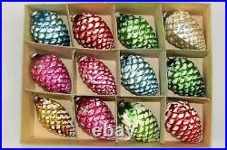 Lot Vintage Mercury Glass Sugared Mica PINE CONES Christmas Ornaments Japan
