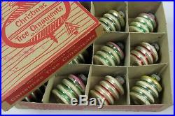 Lot Vtg Shiny Brite Mercury Glass Mica Lantern Barrel UFO Keg Christmas Ornament