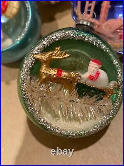 Lot of 4 Vintage Mercury Glass 3D Diorama Indent Ornaments USA Poland Japan