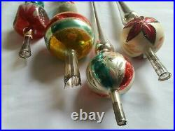 Lot of 4 Vintage Mercury Glass Christmas Tree Topper Tops West Germany Poland +