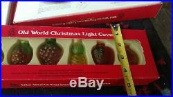 Merck Old World Christmas Glass Light Covers Ornaments USA Lot of 5 Rare Vintage