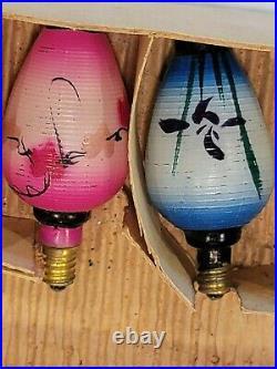 Milk Glass Vintage Chinese Lantern Christmas 8 Working Light Bulbs C6 Japan Box