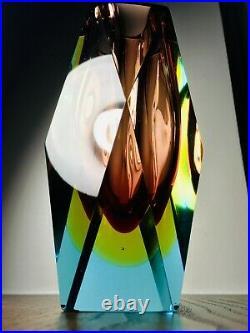 Murano Glass Vase Hand Made Art Vintage blue yellow brown Christmas Gift