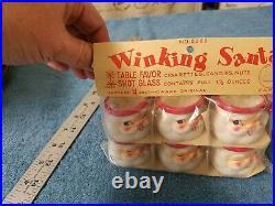 NOS 6 Vintage Holt Howard Winking Santa Mini Party Favor Cups Mugs Shot Glasses