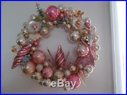 OOAK PINK & SILVER MERCURY GLASS CHRISTMAS ORNAMENT WREATH Vintage ANGELS BELL