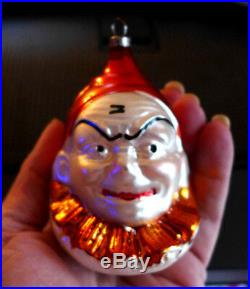 Old Antique Vtg CLOWN Germany Glass Xmas Ornament Hand Painted