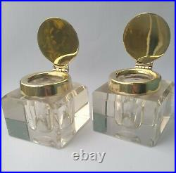 PAIR VINTAGE / ANTIQUE HEAVY BRASS / SOLID GLASS INKWELL INK BOTTLES Christmas