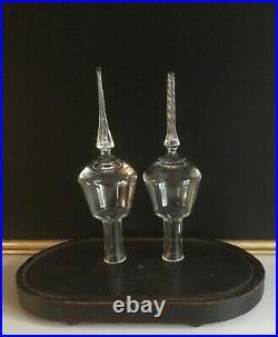 Pair Vtg Victorian blown glass Xmas TREE TOPPER finial s mantle ornament rare