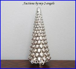 Pottery Barn Christmas Vintage LARGE LIT MERCURY GLASS TREE CLOCHE 22 Silver