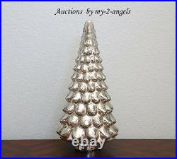 Pottery Barn Christmas Vintage MEDIUM LIT MERCURY GLASS TREE CLOCHE 18 Silver