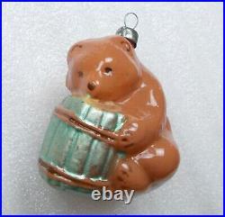 RARE Old Vintage Russian Glass Christmas Tree Ornament Decoration Bear w Barel