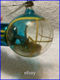 RARE Vintage De Carlini Italy HELICOPTER Glass Christmas Ornament