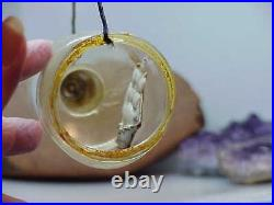 Rare ANTIQUE Glass Figural Ship in a Bottle CHRISTMAS ORNAMENT Vintage Etched #2