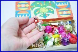 Rare Miniature Vintage Christmas Decoration, Soviet Plastic Glass Ornaments