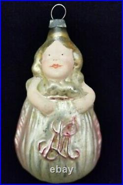 Rare Vintage 1910's Girl in Sack Monogrammed L M Flesh Face Glass Ornament