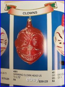 Rare Vintage 1920's Grinning Clown head Glass Ornament