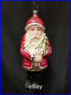 Rare Vintage 1930's Santa with Chenille Legs Wax Boots Glass Ornament 5