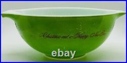 Rare Vintage 443 Merry Christmas Happy new year Cinderella Bowl Pyrex 2 1/2 Qt