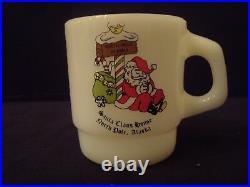 Rare Vintage Anchor Hocking Fire King Santa Claus House North Pole Christmas Mug