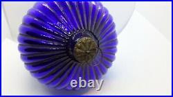 Rare Vintage Cobalt Blue Ribbed Egg From German Kugel 6.5 Christmas Ornament